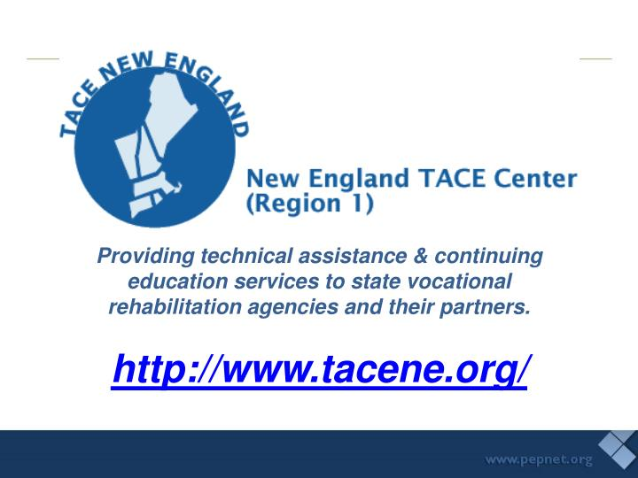 Providing technical assistance & continuing education services to state vocational rehabilitation ag...