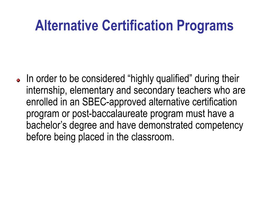 Alternative Certification Programs