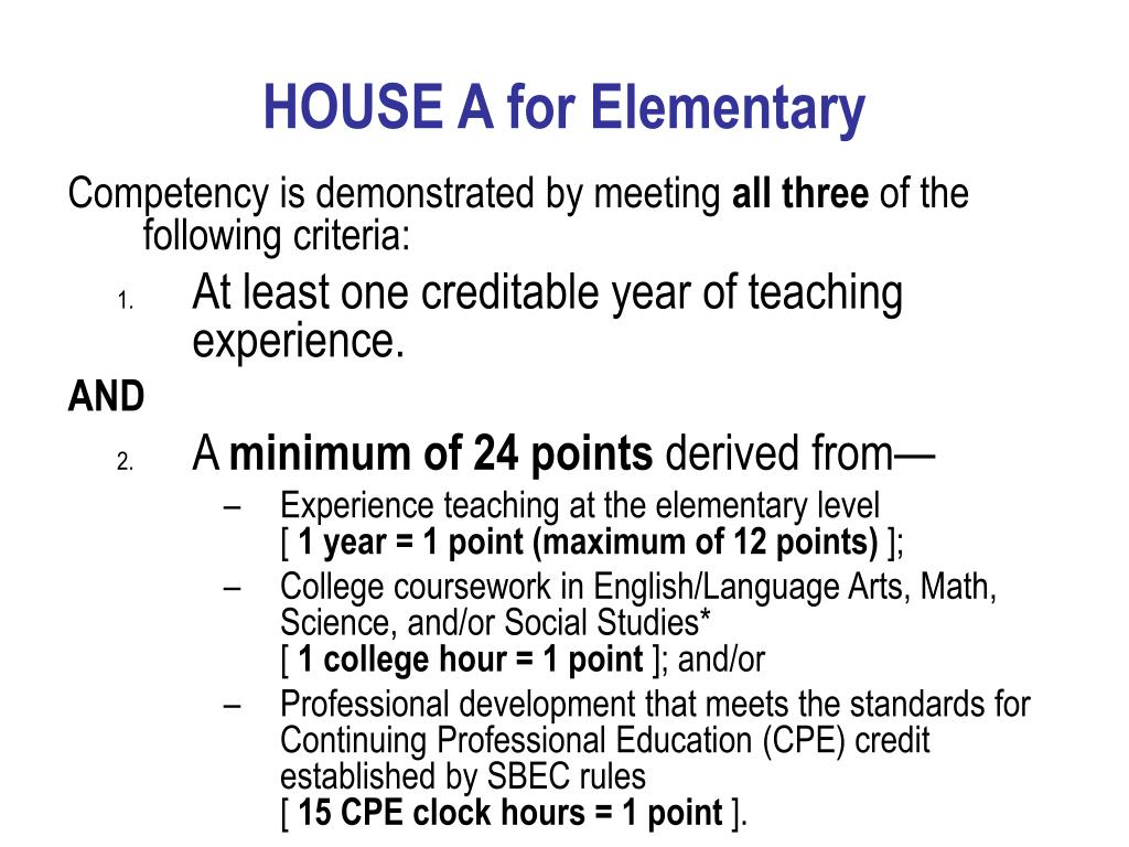 HOUSE A for Elementary