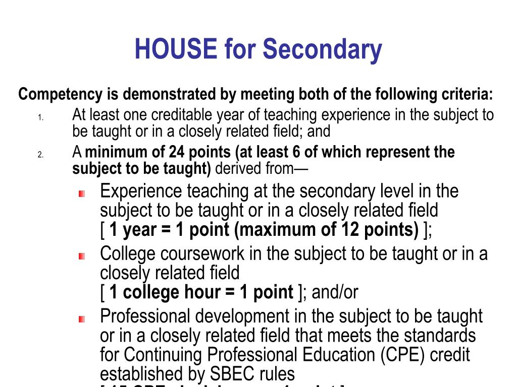 HOUSE for Secondary