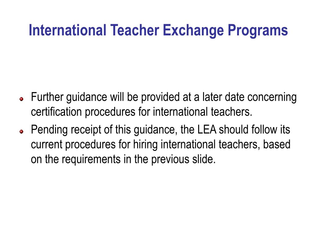 International Teacher Exchange Programs