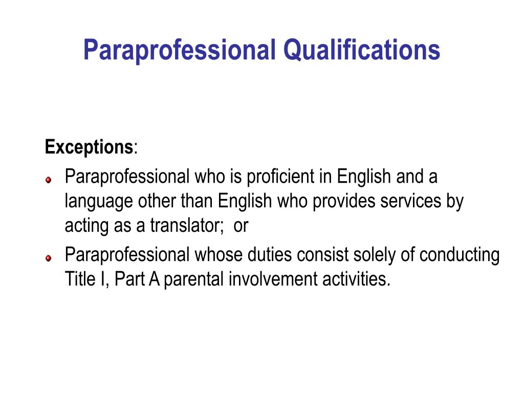 Paraprofessional Qualifications