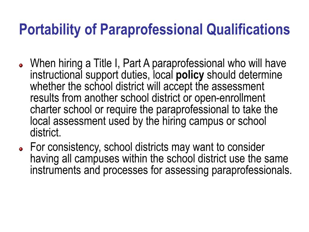 Portability of Paraprofessional Qualifications