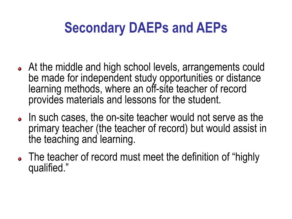 Secondary DAEPs and AEPs