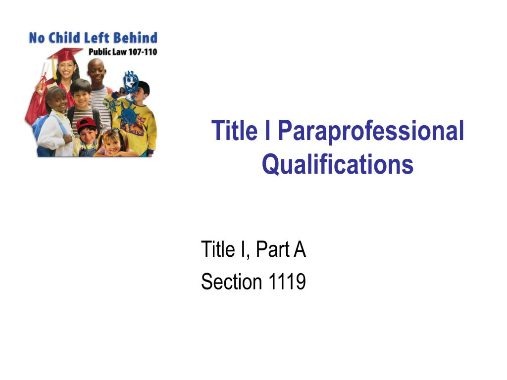 Title I Paraprofessional Qualifications