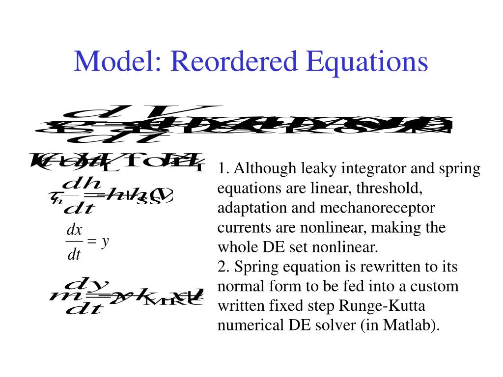 Model: Reordered Equations