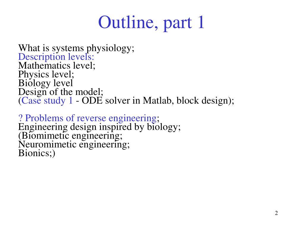 Outline, part 1