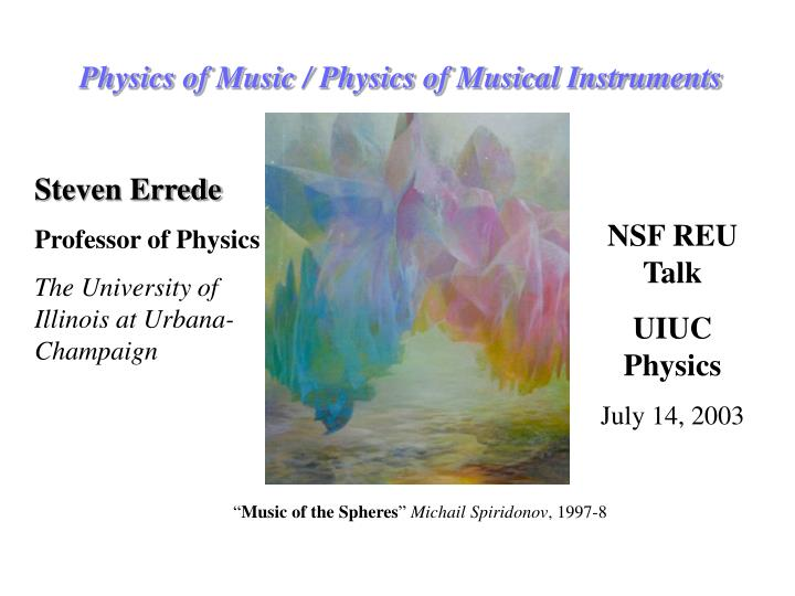 Physics of music physics of musical instruments