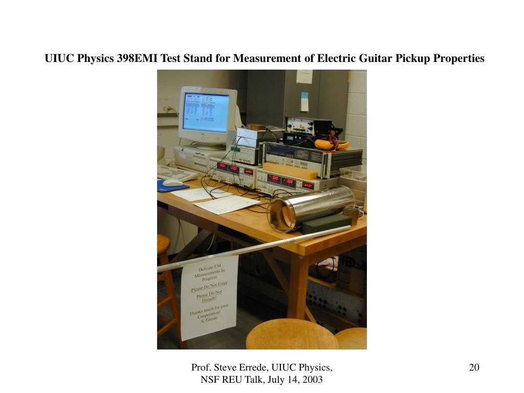 UIUC Physics 398EMI Test Stand for Measurement of Electric Guitar Pickup Properties