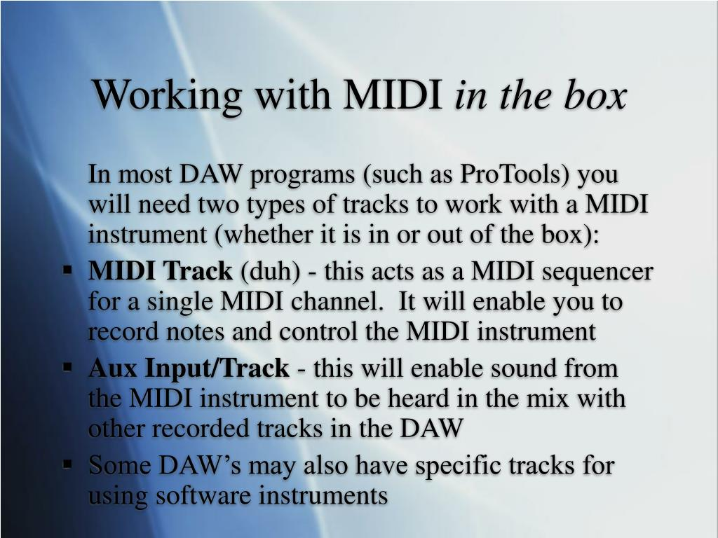 Working with MIDI
