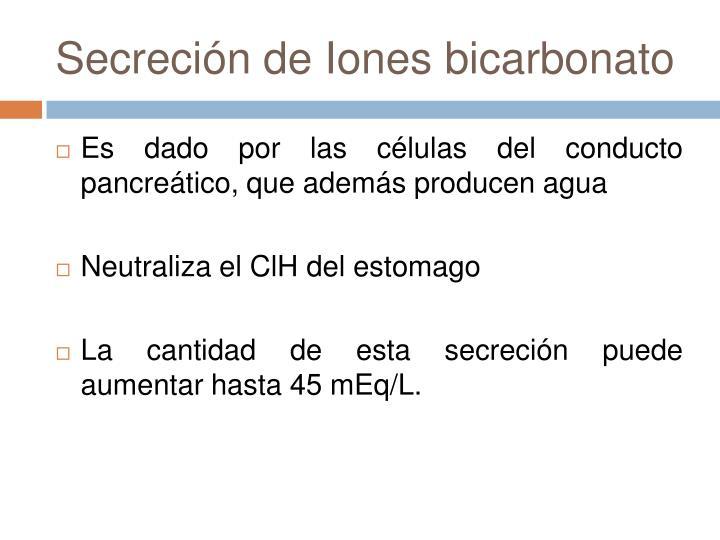 Secreción de Iones bicarbonato