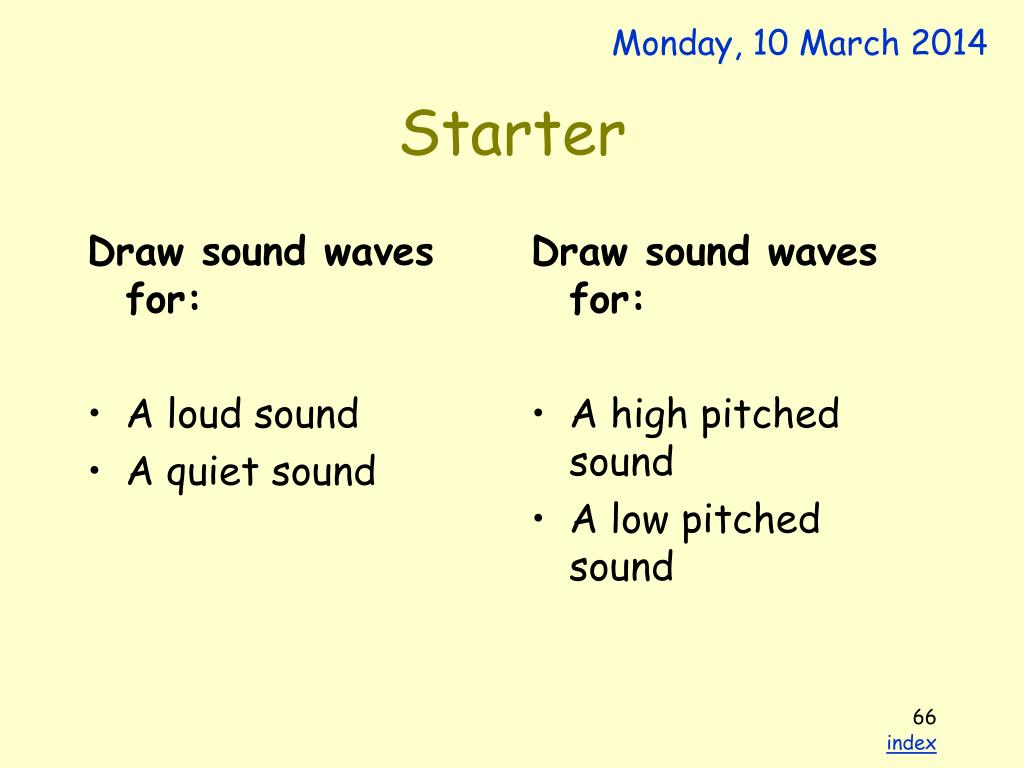 Draw sound waves for: