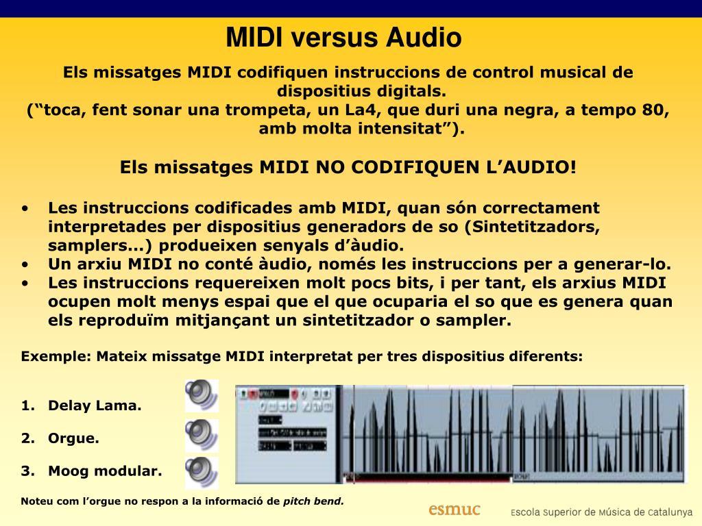 Els missatges MIDI codifiquen instruccions de control musical de dispositius digitals.
