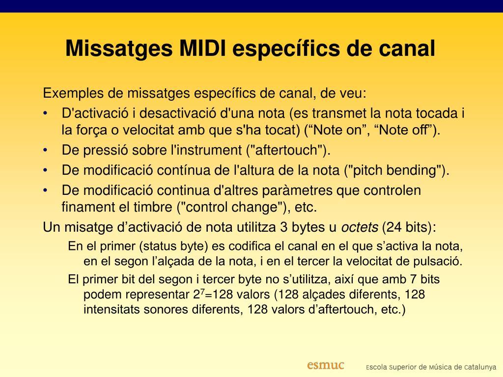 Missatges MIDI específics de canal