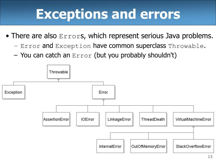 Exceptions and errors