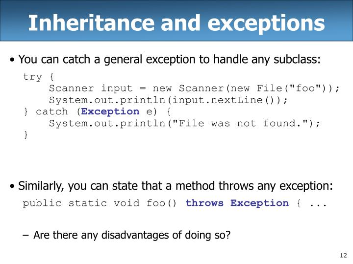 Inheritance and exceptions