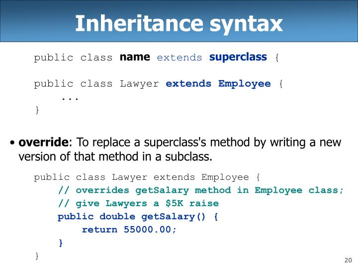 Inheritance syntax