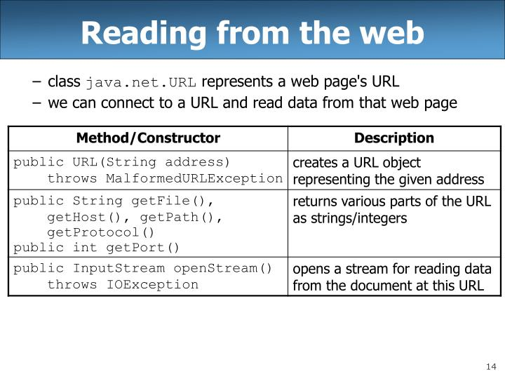 Reading from the web