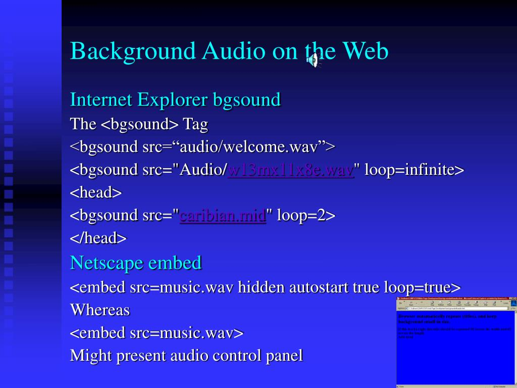 Background Audio on the Web