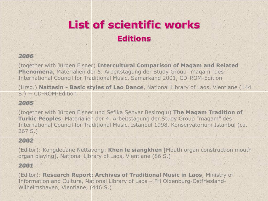 List of scientific works