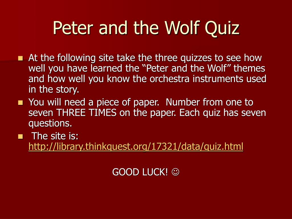 Peter and the Wolf Quiz