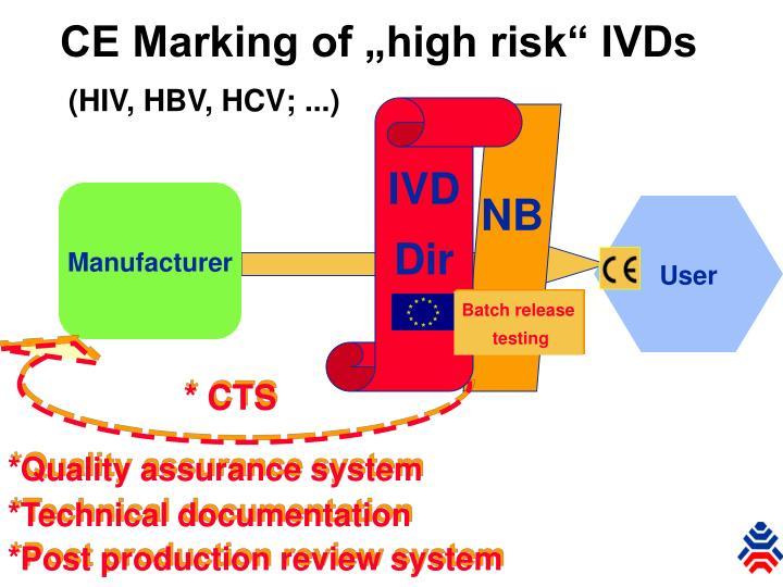 "CE Marking of ""high risk"" IVDs"