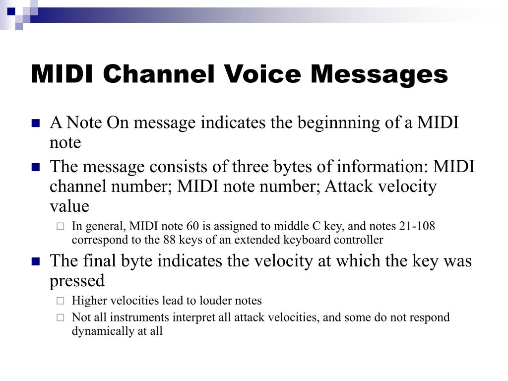 MIDI Channel Voice Messages