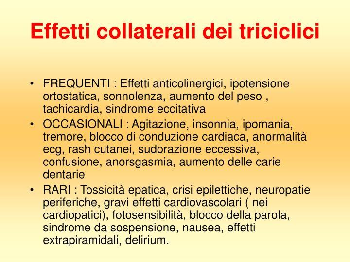 Effetti collaterali dei triciclici