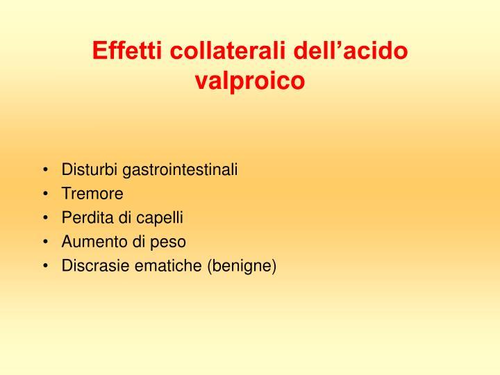Effetti collaterali dell'acido valproico