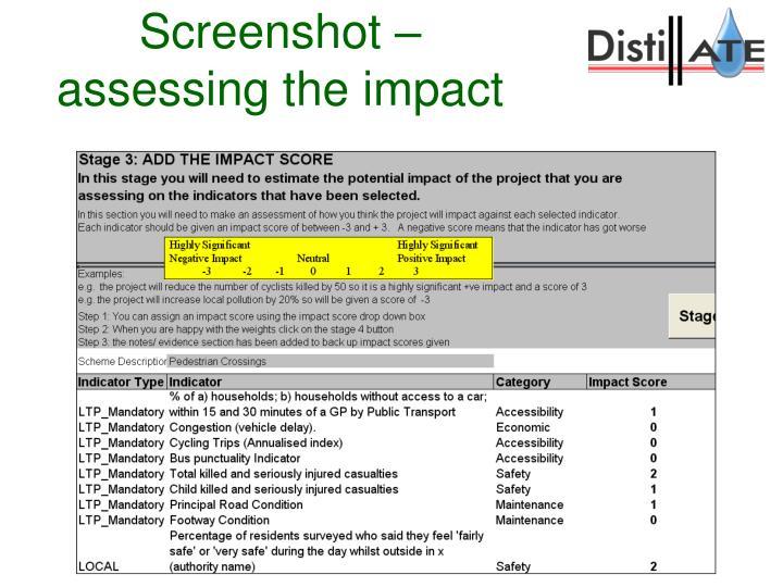 Screenshot – assessing the impact