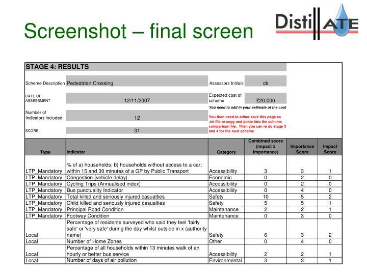 Screenshot – final screen