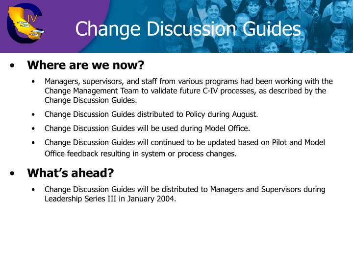 Change Discussion Guides