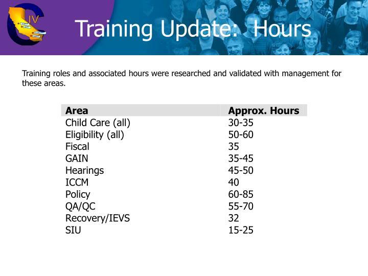 Training Update:  Hours