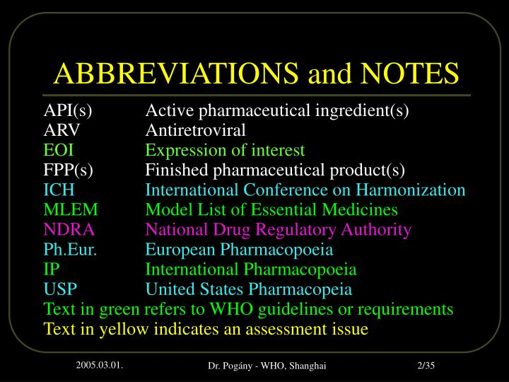 Abbreviations and notes