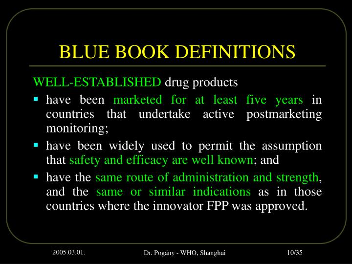 BLUE BOOK DEFINITIONS