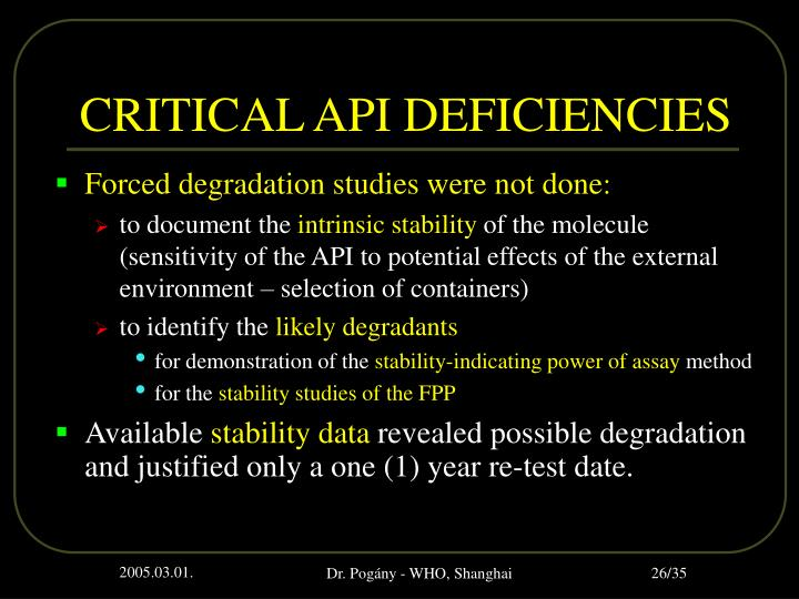 CRITICAL API DEFICIENCIES