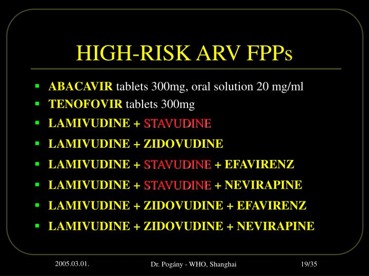 HIGH-RISK ARV FPPs