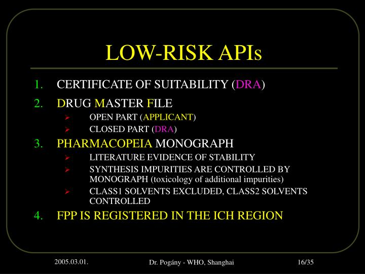 LOW-RISK APIs