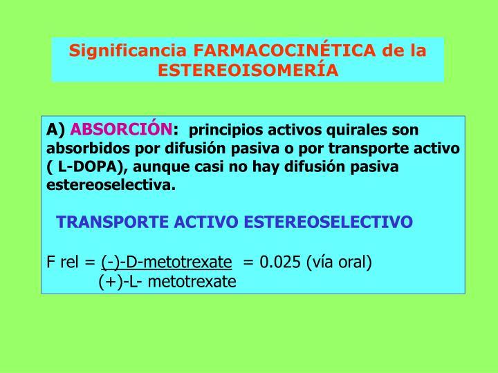 Significancia FARMACOCINÉTICA de la