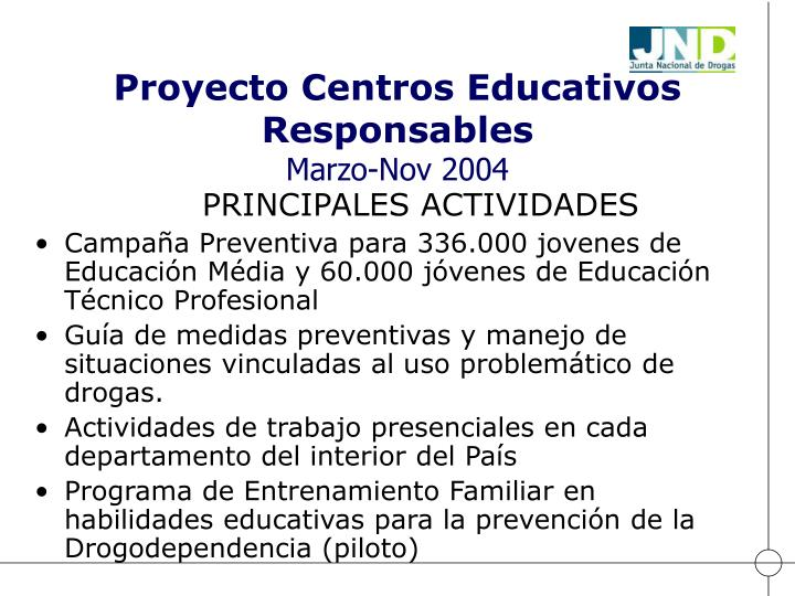 Proyecto Centros Educativos Responsables
