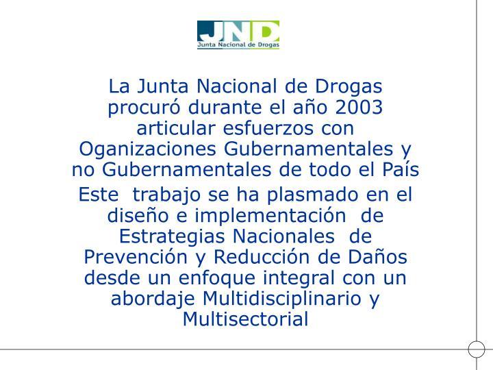 La Junta Nacional de Drogas procuró durante el año 2003 articular esfuerzos con   Oganizaciones Gubernamentales y no Gubernamentales de todo el País