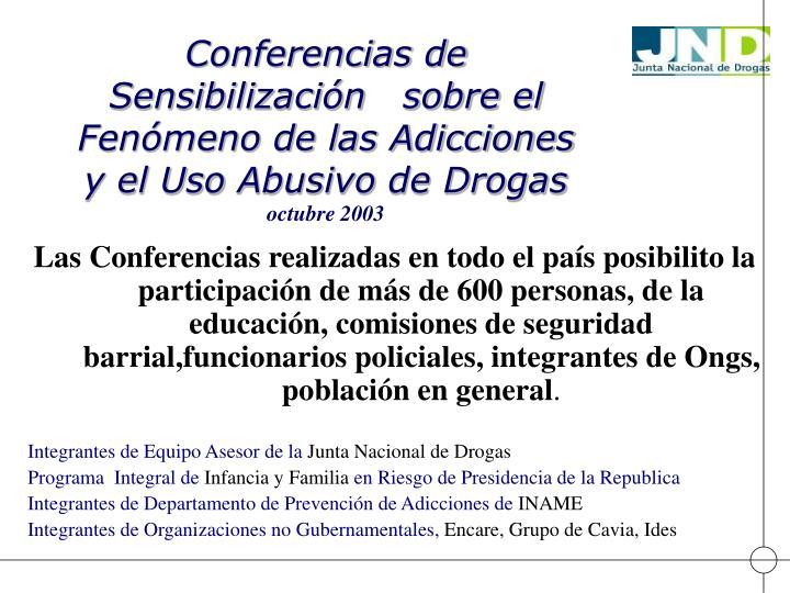 Conferencias de Sensibilización   sobre el Fenómeno de las Adicciones  y el Uso