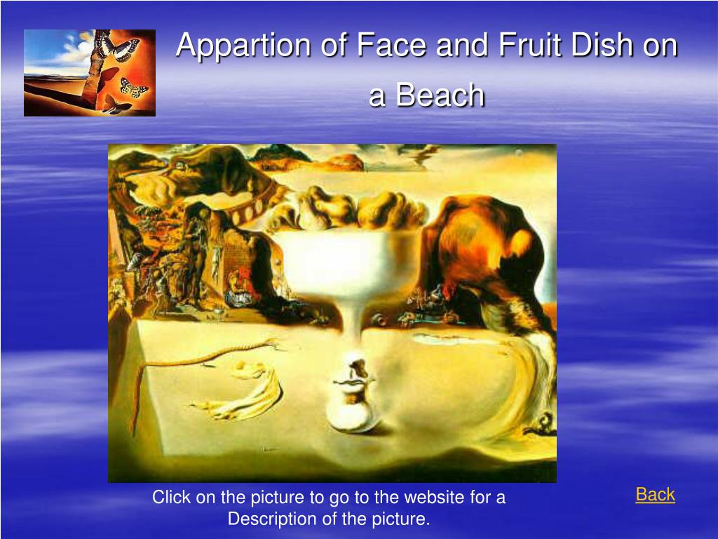 Appartion of Face and Fruit Dish on a Beach