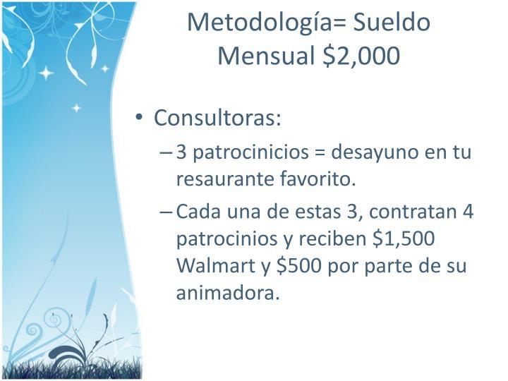 Metodología= Sueldo Mensual $2,000