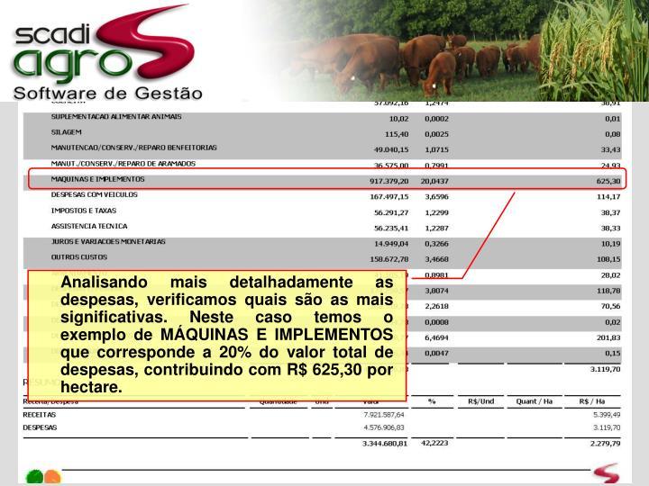 Analisando mais detalhadamente as despesas, verificamos quais são as mais significativas. Neste caso temos o exemplo de MÁQUINAS E IMPLEMENTOS que corresponde a 20% do valor total de despesas, contribuindo com R$ 625,30 por hectare.