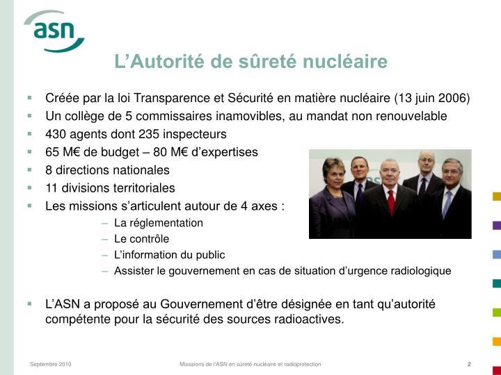 L'Autorité de sûreté nucléaire