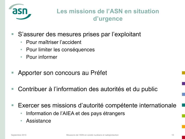 Les missions de l'ASN en situation d'urgence