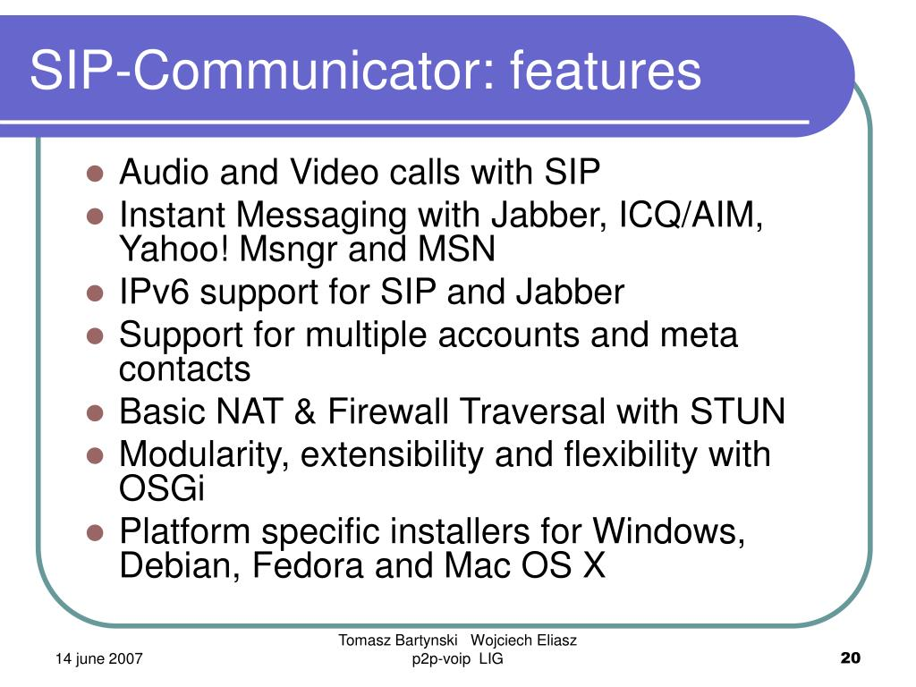 SIP-Communicator: features