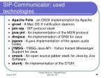 sip communicator used technologies