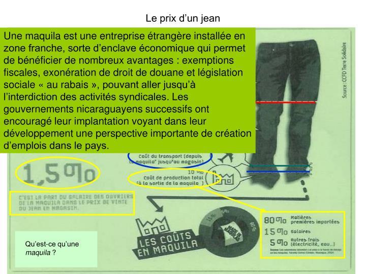 Le prix d'un jean
